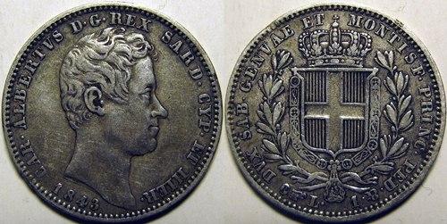 Moneta da 1 Lira di Carlo Alberto (1843)