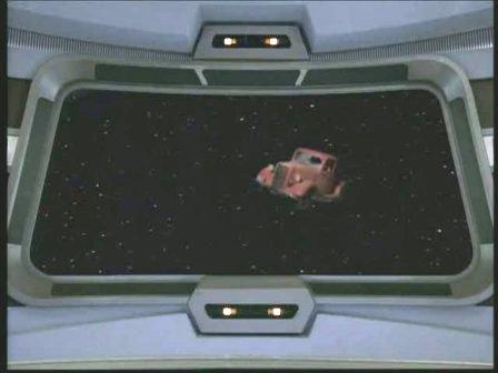 Il camioncino visualizzato sullo schermo della plancia di comando della Voyager
