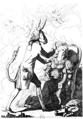 Vignetta satirica sul Mesmerismo, nella quale un asino sperimenta la sua arte medica su una paziente.