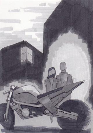 Sam e Jane entrano nelal fabbrica abbandonata delle Betty. (disegno originale di Andrea Lupia)